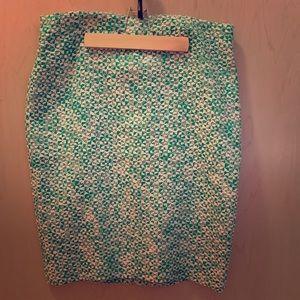 J Crew NWT Pencil Skirt Caribbean Tweed Green